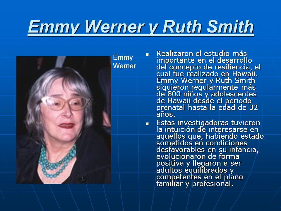 Emmy Werner y Ruth Smith Realizaron el estudio más importante en el desarrollo del concepto de resiliencia, el cual fue realizado en Hawaii. Emmy Wern