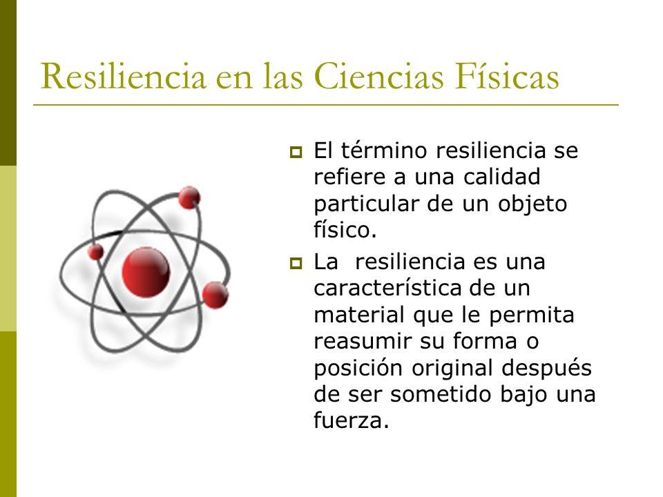 Resiliencia en la Biología Se define como la capacidad de recuperarse rápidamente de enfermedad o de un desastre natural.