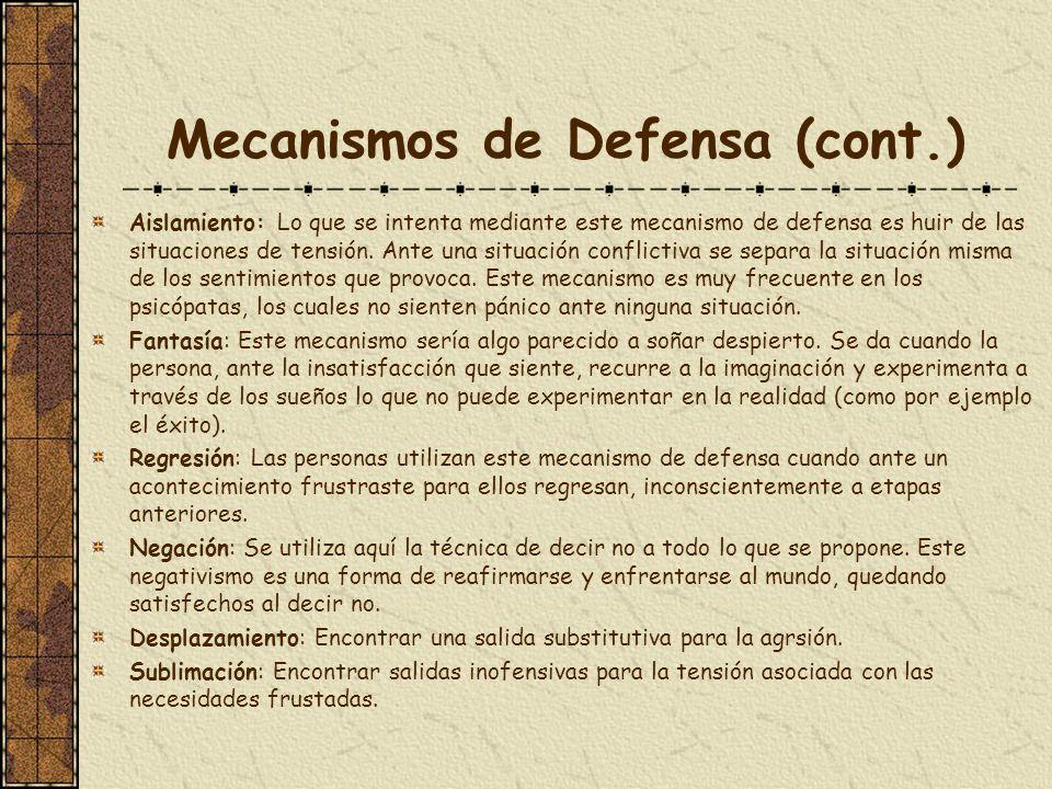 Mecanismos de Defensa (cont.) Aislamiento: Lo que se intenta mediante este mecanismo de defensa es huir de las situaciones de tensión. Ante una situac
