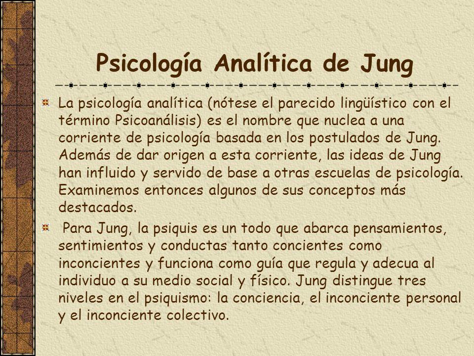 Psicología Analítica de Jung La psicología analítica (nótese el parecido lingüístico con el término Psicoanálisis) es el nombre que nuclea a una corri