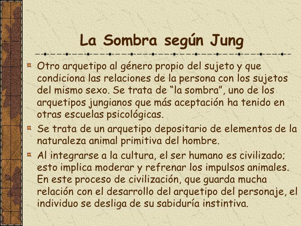 La Sombra según Jung Otro arquetipo al género propio del sujeto y que condiciona las relaciones de la persona con los sujetos del mismo sexo. Se trata