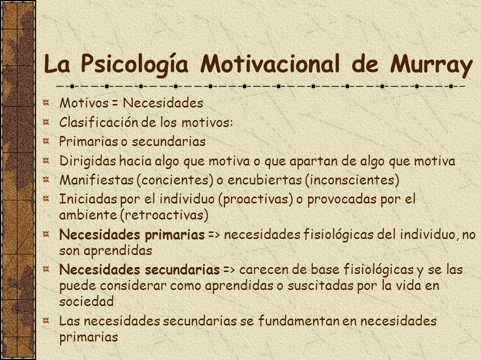 La Psicología Motivacional de Murray Motivos = Necesidades Clasificación de los motivos: Primarias o secundarias Dirigidas hacia algo que motiva o que