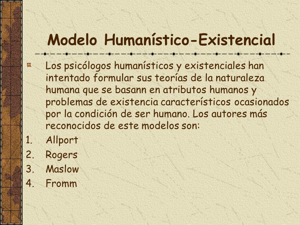 Modelo Humanístico-Existencial Los psicólogos humanísticos y existenciales han intentado formular sus teorías de la naturaleza humana que se basann en