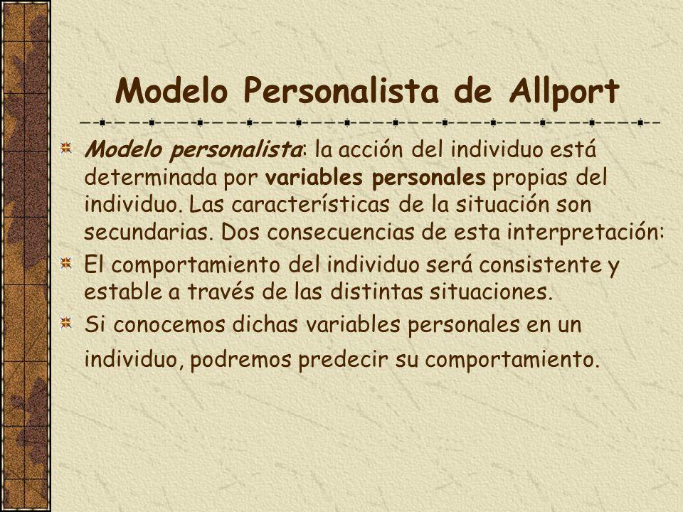 Modelo Personalista de Allport Modelo personalista: la acción del individuo está determinada por variables personales propias del individuo. Las carac