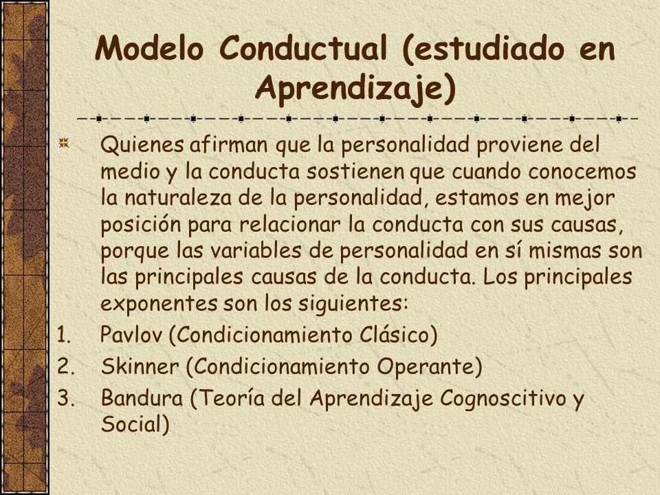 Modelo Conductual (estudiado en Aprendizaje) Quienes afirman que la personalidad proviene del medio y la conducta sostienen que cuando conocemos la na