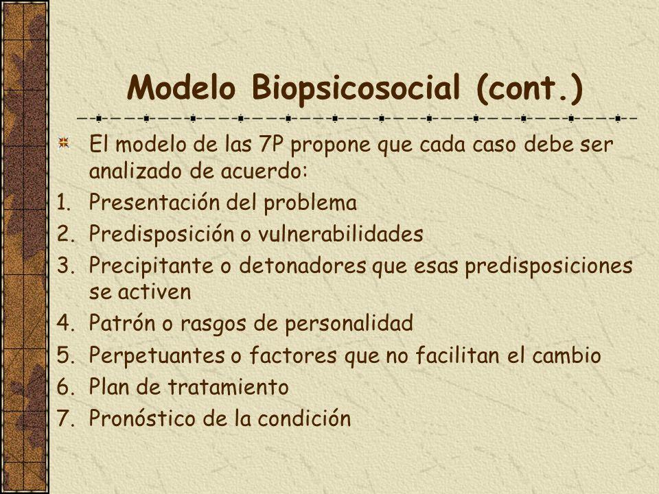 Modelo Biopsicosocial (cont.) El modelo de las 7P propone que cada caso debe ser analizado de acuerdo: 1.Presentación del problema 2.Predisposición o