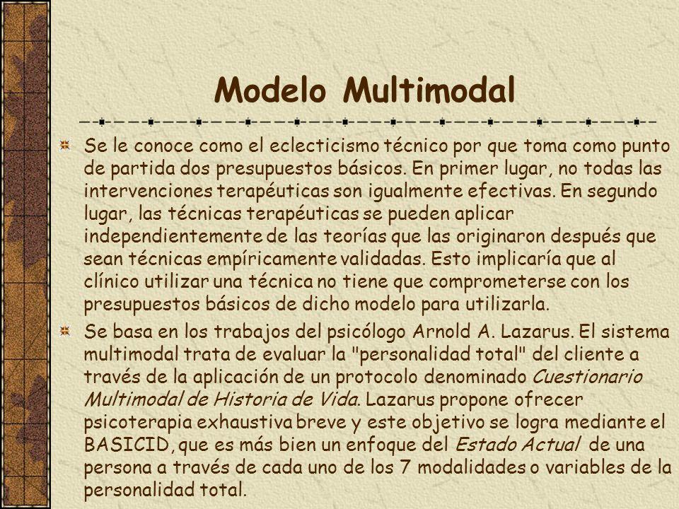 Modelo Multimodal Se le conoce como el eclecticismo técnico por que toma como punto de partida dos presupuestos básicos. En primer lugar, no todas las