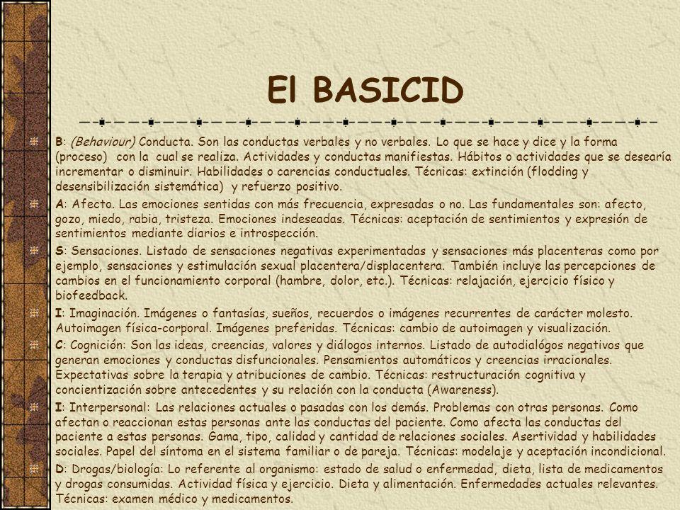 El BASICID B: (Behaviour) Conducta. Son las conductas verbales y no verbales. Lo que se hace y dice y la forma (proceso) con la cual se realiza. Activ