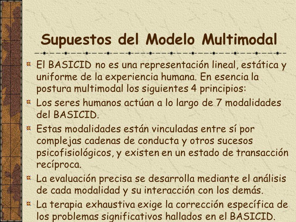 Supuestos del Modelo Multimodal El BASICID no es una representación lineal, estática y uniforme de la experiencia humana. En esencia la postura multim