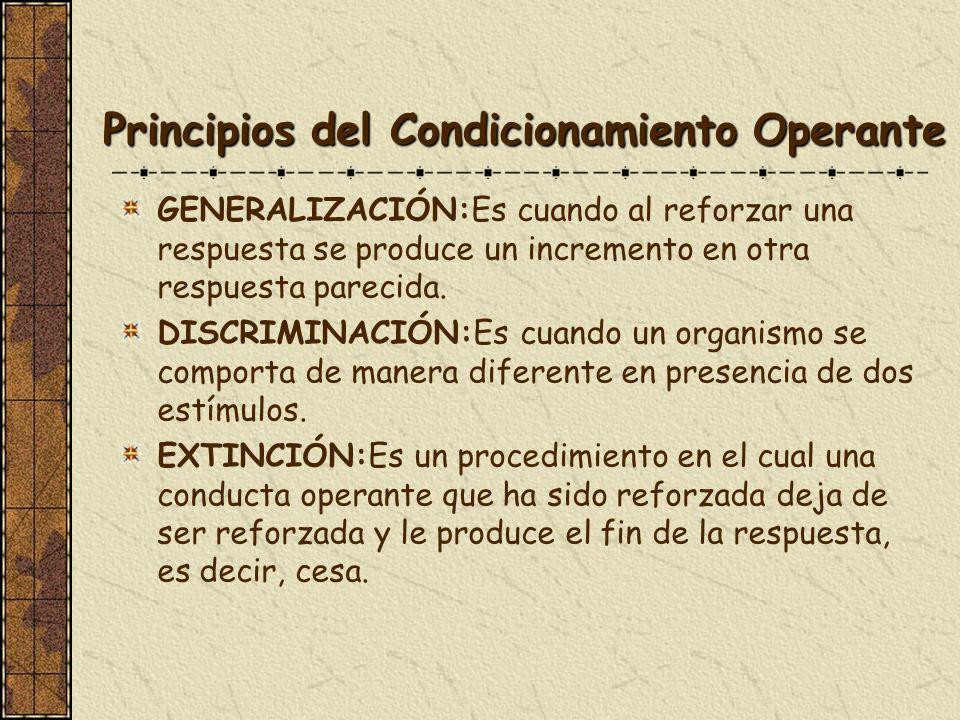Principios del Condicionamiento Operante GENERALIZACIÓN:Es cuando al reforzar una respuesta se produce un incremento en otra respuesta parecida. DISCR