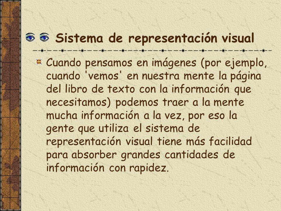 Sistema de representación visual Cuando pensamos en imágenes (por ejemplo, cuando 'vemos' en nuestra mente la página del libro de texto con la informa