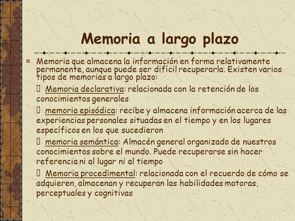 Memoria a largo plazo Memoria que almacena la información en forma relativamente permanente, aunque puede ser difícil recuperarla. Existen varios tipo