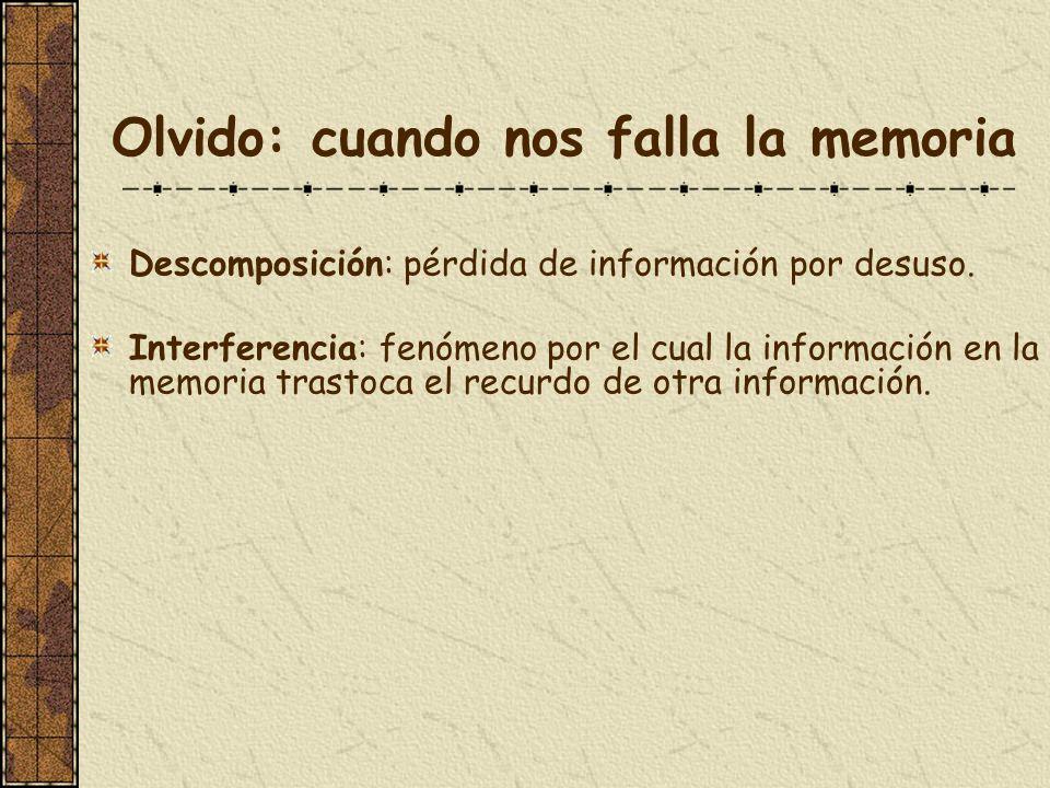 Olvido: cuando nos falla la memoria Descomposición: pérdida de información por desuso. Interferencia: fenómeno por el cual la información en la memori