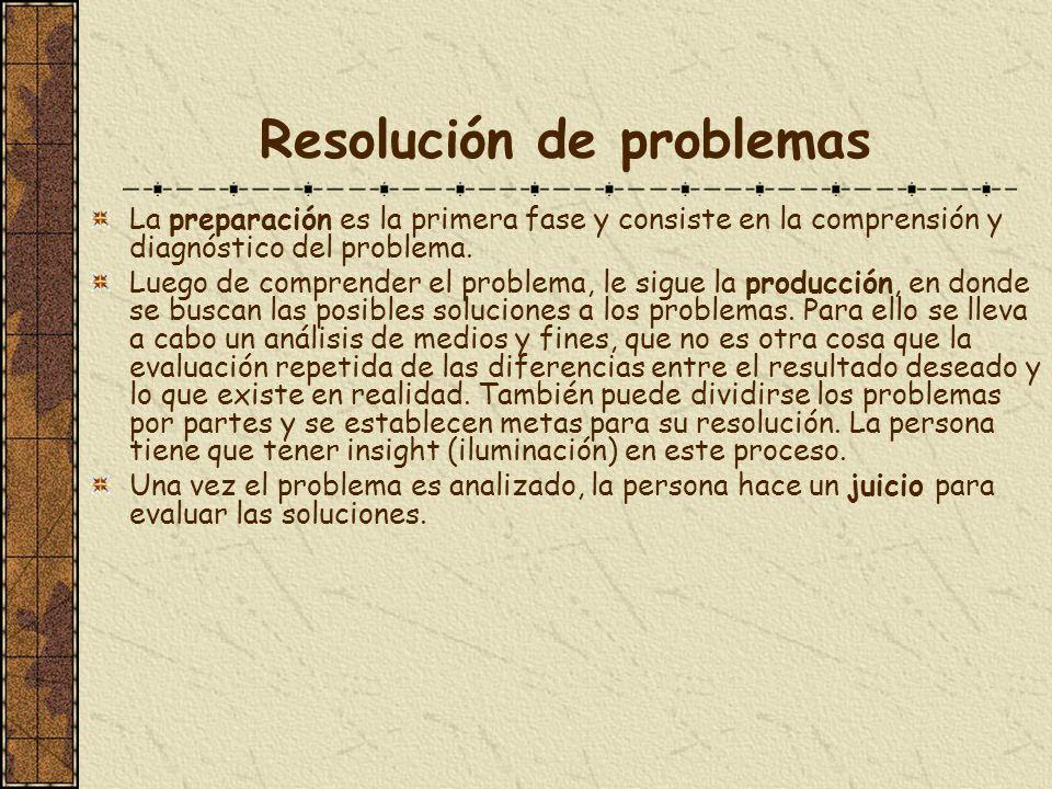 Resolución de problemas La preparación es la primera fase y consiste en la comprensión y diagnóstico del problema. Luego de comprender el problema, le