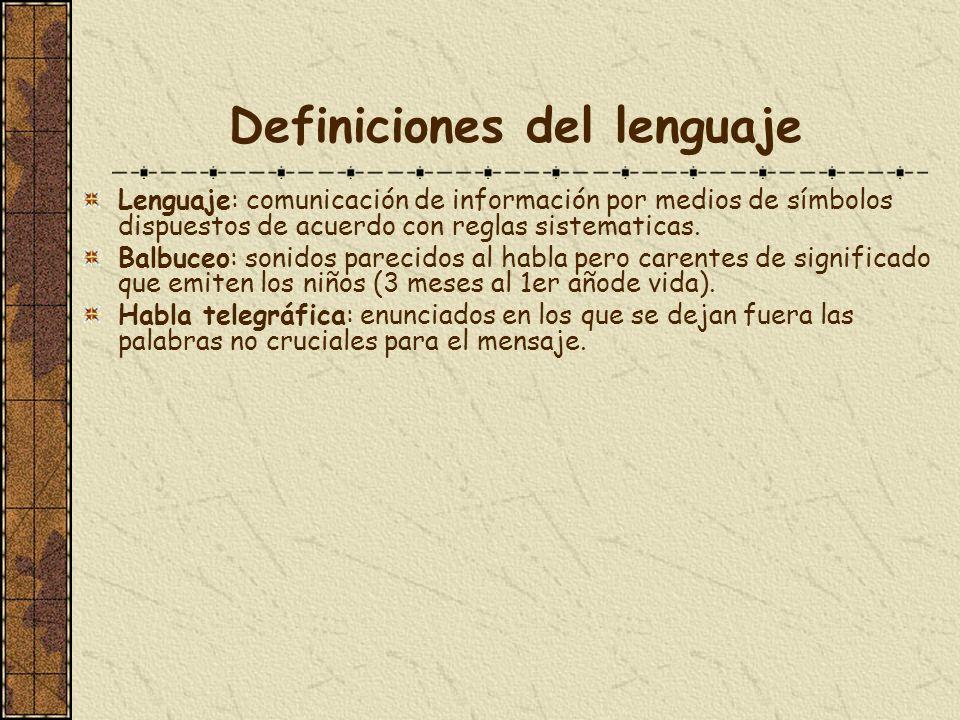 Definiciones del lenguaje Lenguaje: comunicación de información por medios de símbolos dispuestos de acuerdo con reglas sistematicas. Balbuceo: sonido