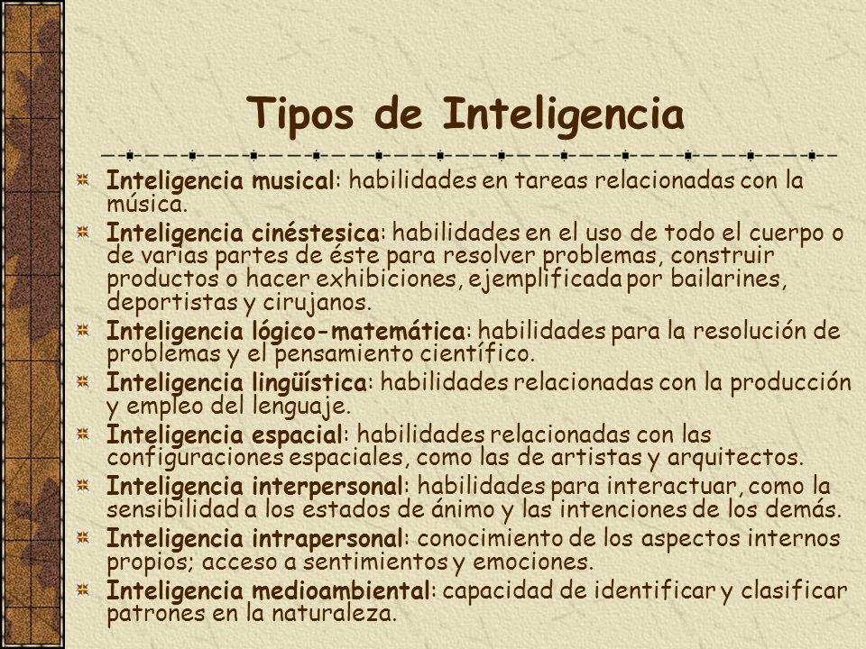 Tipos de Inteligencia Inteligencia musical: habilidades en tareas relacionadas con la música. Inteligencia cinéstesica: habilidades en el uso de todo
