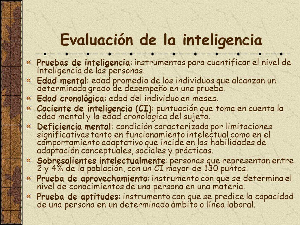 Evaluación de la inteligencia Pruebas de inteligencia: instrumentos para cuantificar el nivel de inteligencia de las personas. Edad mental: edad prome