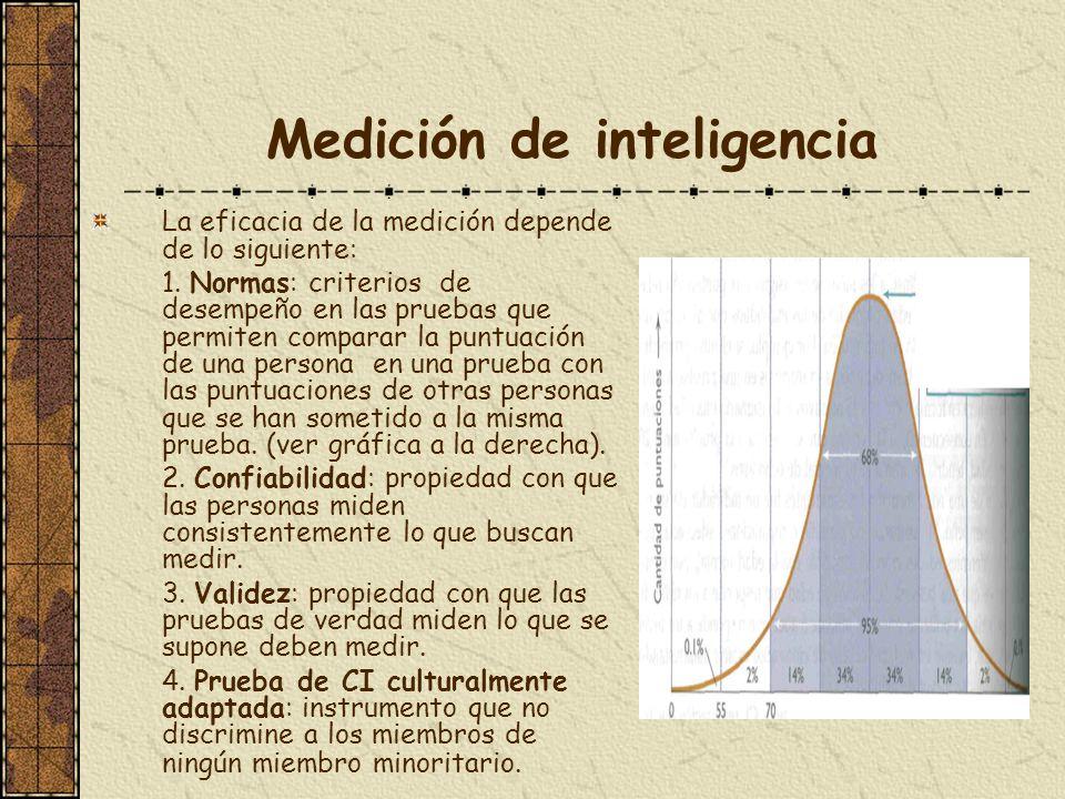 Medición de inteligencia La eficacia de la medición depende de lo siguiente: 1. Normas: criterios de desempeño en las pruebas que permiten comparar la