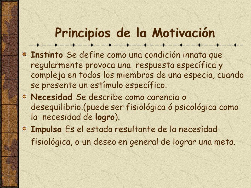 Principios de la Motivación Instinto Se define como una condición innata que regularmente provoca una respuesta específica y compleja en todos los mie