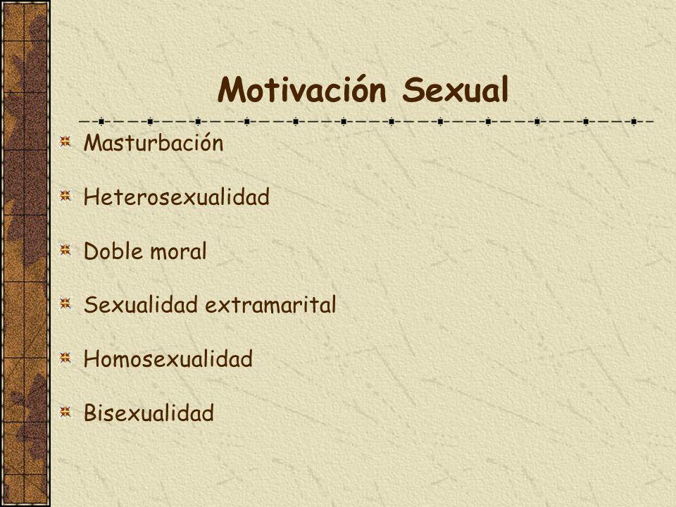 Motivación Sexual Masturbación Heterosexualidad Doble moral Sexualidad extramarital Homosexualidad Bisexualidad