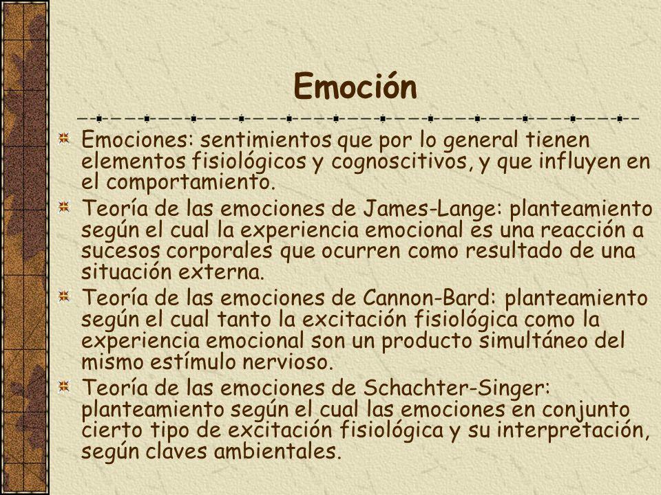 Emoción Emociones: sentimientos que por lo general tienen elementos fisiológicos y cognoscitivos, y que influyen en el comportamiento. Teoría de las e