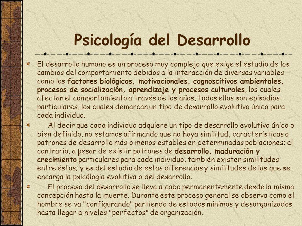 Psicología del Desarrollo El desarrollo humano es un proceso muy complejo que exige el estudio de los cambios del comportamiento debidos a la interacc