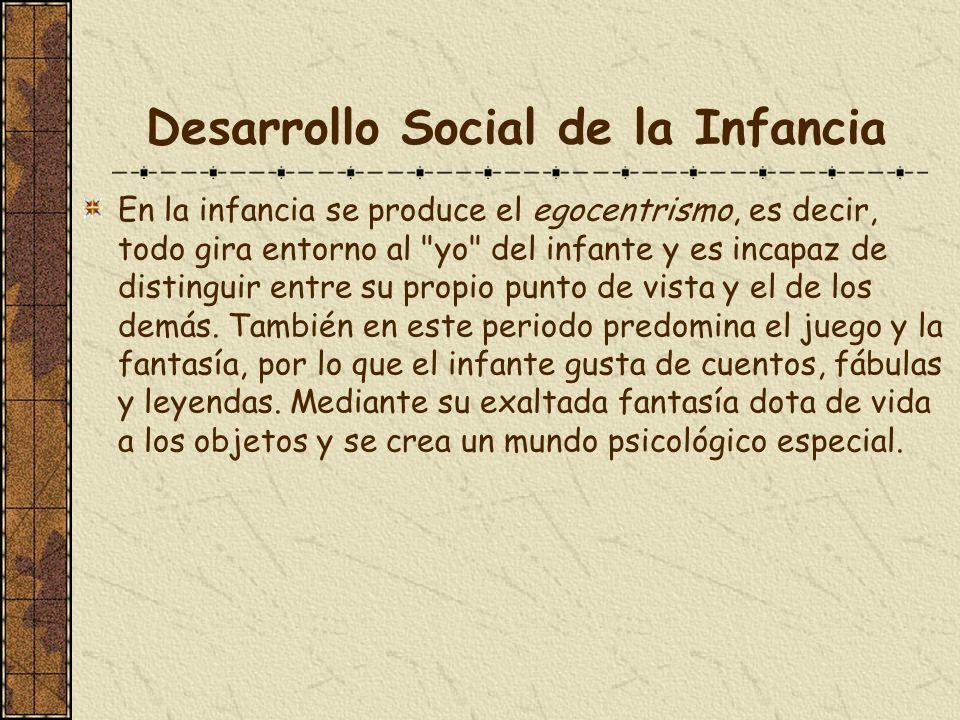 Desarrollo Social de la Infancia En la infancia se produce el egocentrismo, es decir, todo gira entorno al