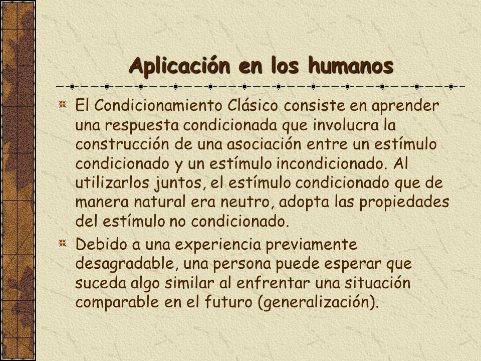 Aplicación en los humanos El Condicionamiento Clásico consiste en aprender una respuesta condicionada que involucra la construcción de una asociación
