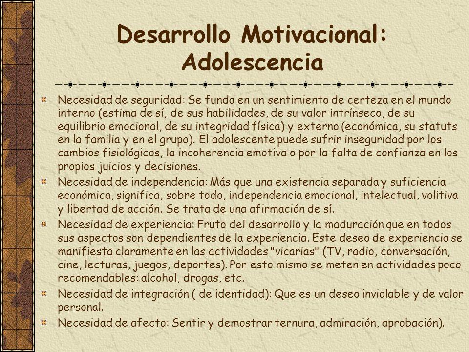 Desarrollo Motivacional: Adolescencia Necesidad de seguridad: Se funda en un sentimiento de certeza en el mundo interno (estima de sí, de sus habilida