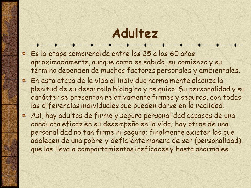 Adultez Es la etapa comprendida entre los 25 a los 60 años aproximadamente, aunque como es sabido, su comienzo y su término dependen de muchos factore