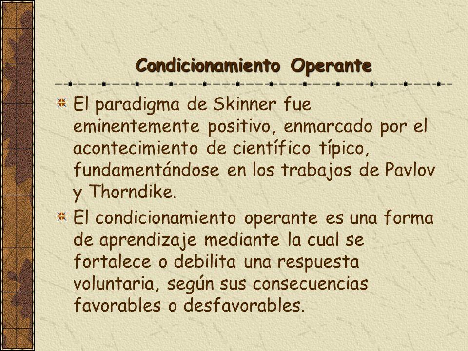 Condicionamiento Operante El paradigma de Skinner fue eminentemente positivo, enmarcado por el acontecimiento de científico típico, fundamentándose en