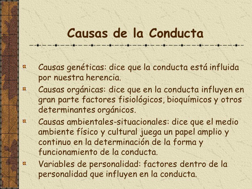 Causas de la Conducta Causas genéticas: dice que la conducta está influida por nuestra herencia. Causas orgánicas: dice que en la conducta influyen en