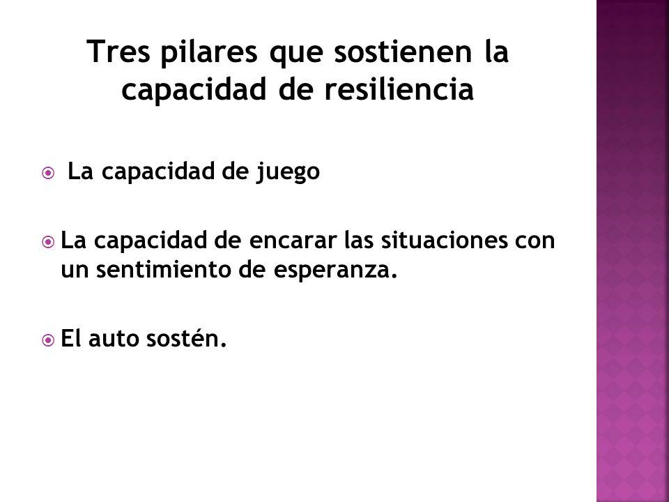 Tres pilares que sostienen la capacidad de resiliencia La capacidad de juego La capacidad de encarar las situaciones con un sentimiento de esperanza.