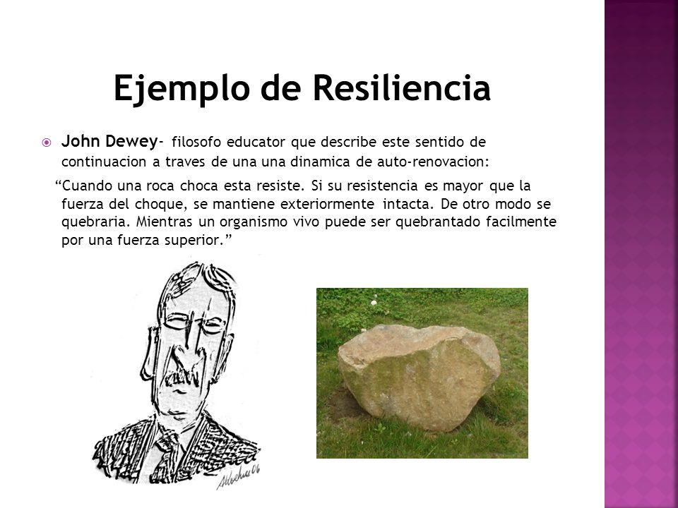 Ejemplo de Resiliencia John Dewey- filosofo educator que describe este sentido de continuacion a traves de una una dinamica de auto-renovacion: Cuando