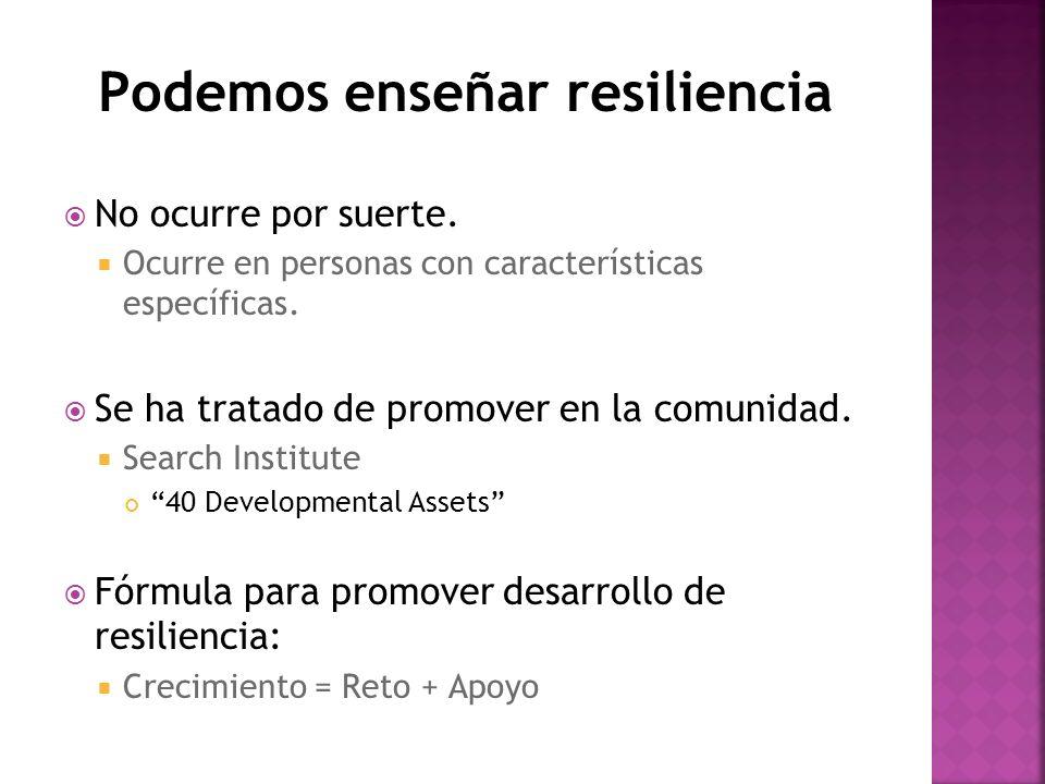 Podemos enseñar resiliencia No ocurre por suerte. Ocurre en personas con características específicas. Se ha tratado de promover en la comunidad. Searc