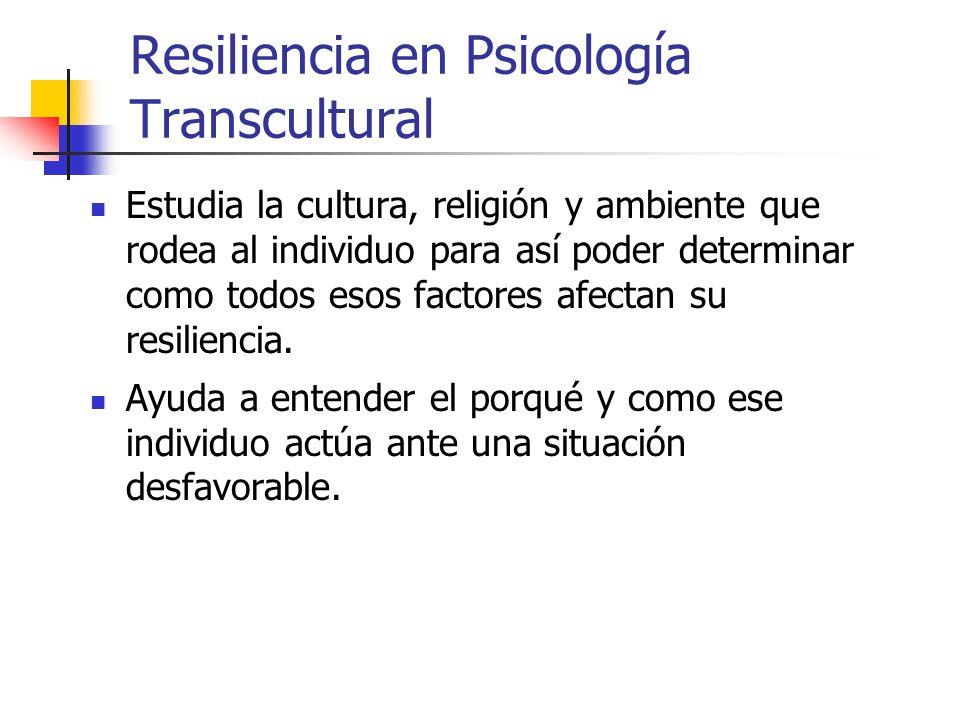 Psicología Transcultural Intenta de determinar cómo influye la ecología, la cultura y lo social en el comportamiento humano. Estudia tanto las diferen