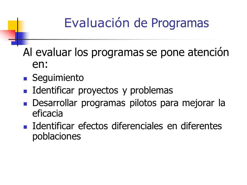 Evaluación de Programas La evaluación de programas educativos, supone un conjunto de destrezas y habilidades orientadas a determinar si los servicios