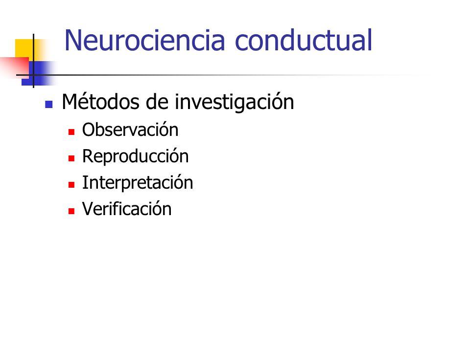 Neurociencia conductual Métodos de investigación Observación Reproducción Interpretación Verificación