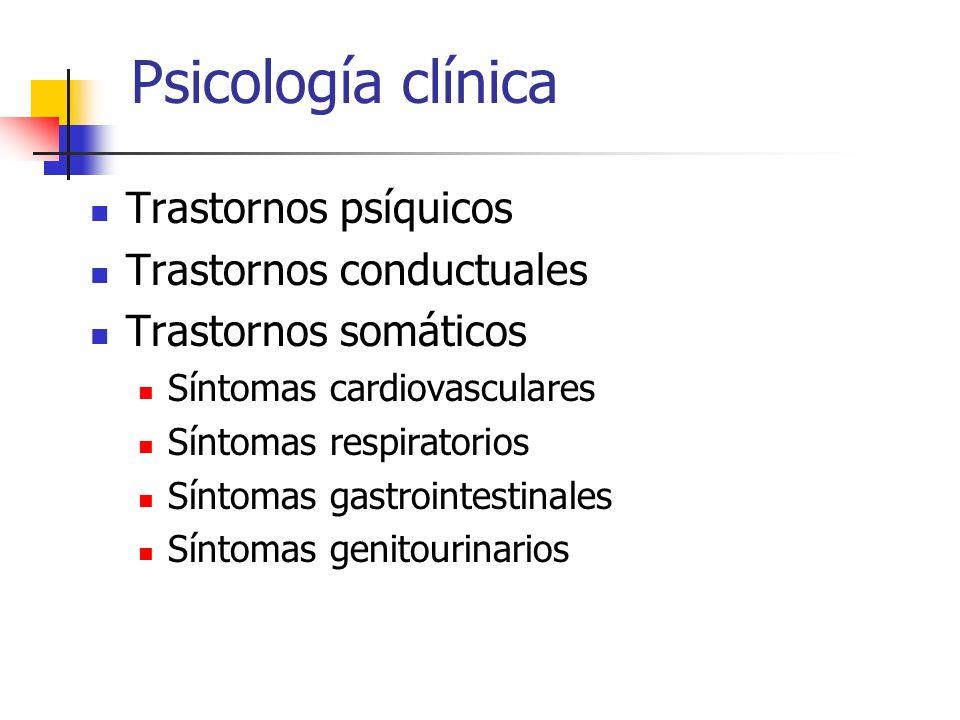 Psicología clínica Trastornos psíquicos Trastornos conductuales Trastornos somáticos Síntomas cardiovasculares Síntomas respiratorios Síntomas gastrointestinales Síntomas genitourinarios