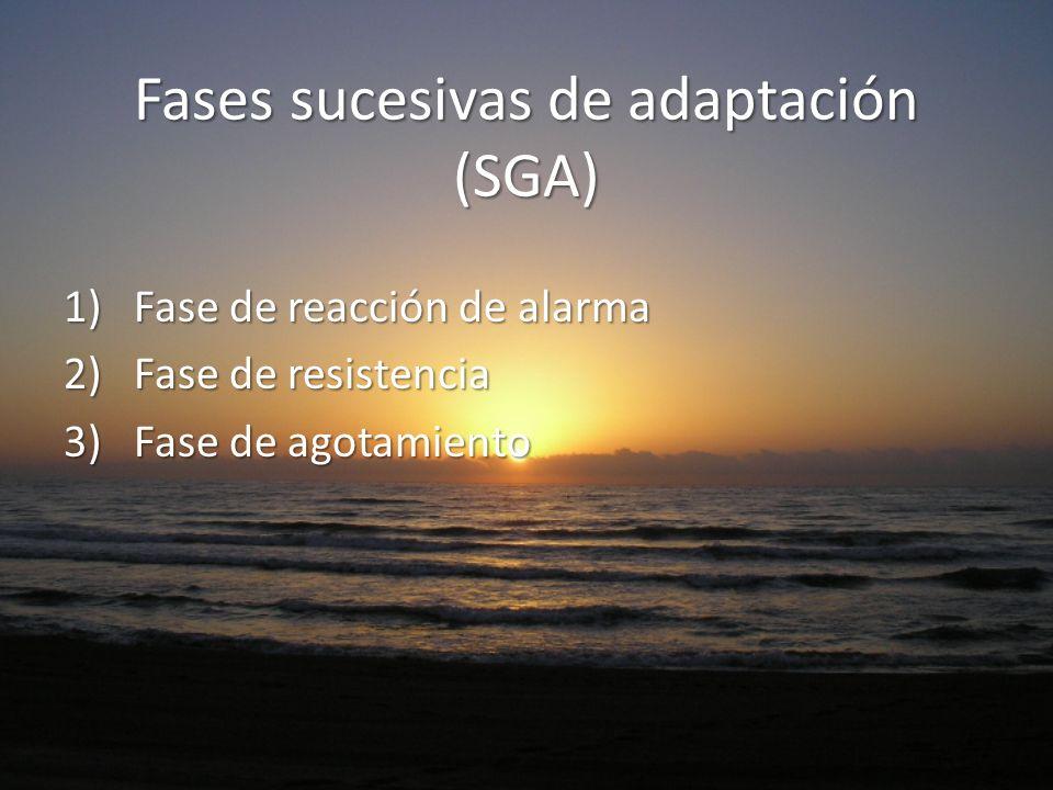 Fases sucesivas de adaptación (SGA) 1)Fase de reacción de alarma 2)Fase de resistencia 3)Fase de agotamiento