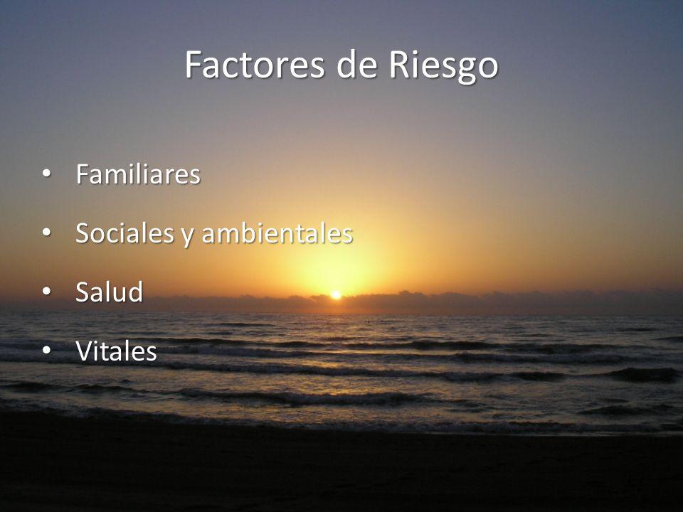 Factores de Riesgo Familiares Familiares Sociales y ambientales Sociales y ambientales Salud Salud Vitales Vitales