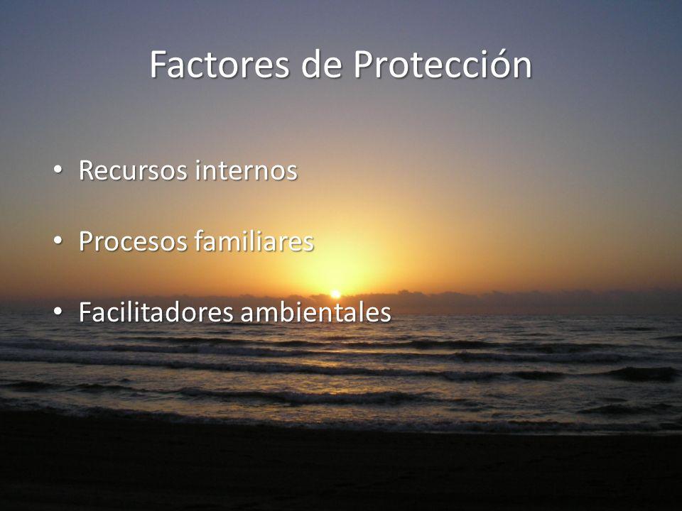 Factores de Protección Recursos internos Recursos internos Procesos familiares Procesos familiares Facilitadores ambientales Facilitadores ambientales