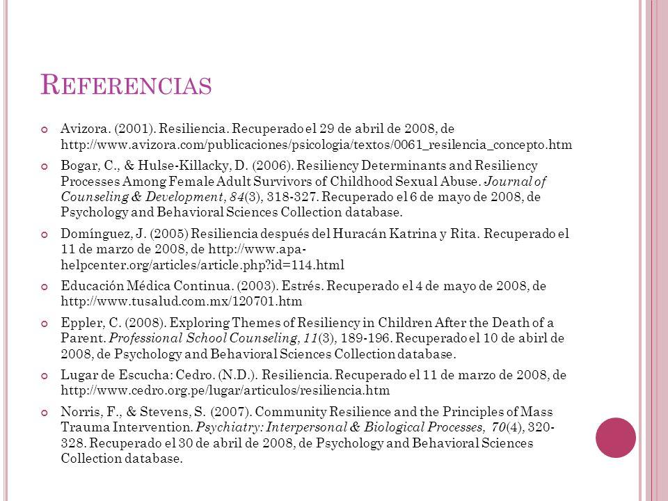 R EFERENCIAS Avizora. (2001). Resiliencia. Recuperado el 29 de abril de 2008, de http://www.avizora.com/publicaciones/psicologia/textos/0061_resilenci