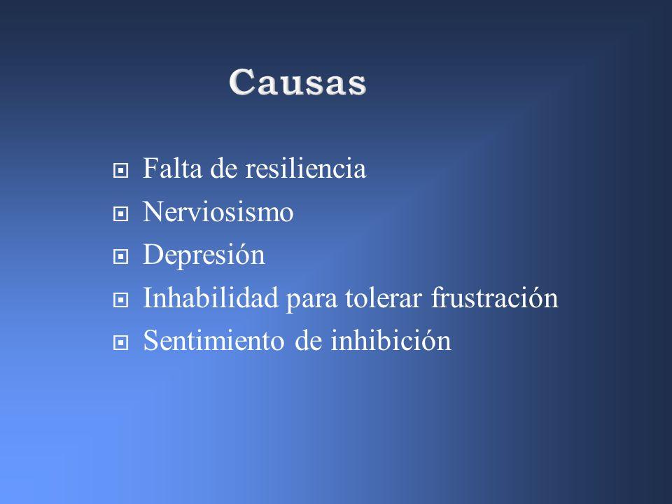 Causas Falta de resiliencia Nerviosismo Depresión Inhabilidad para tolerar frustración Sentimiento de inhibición