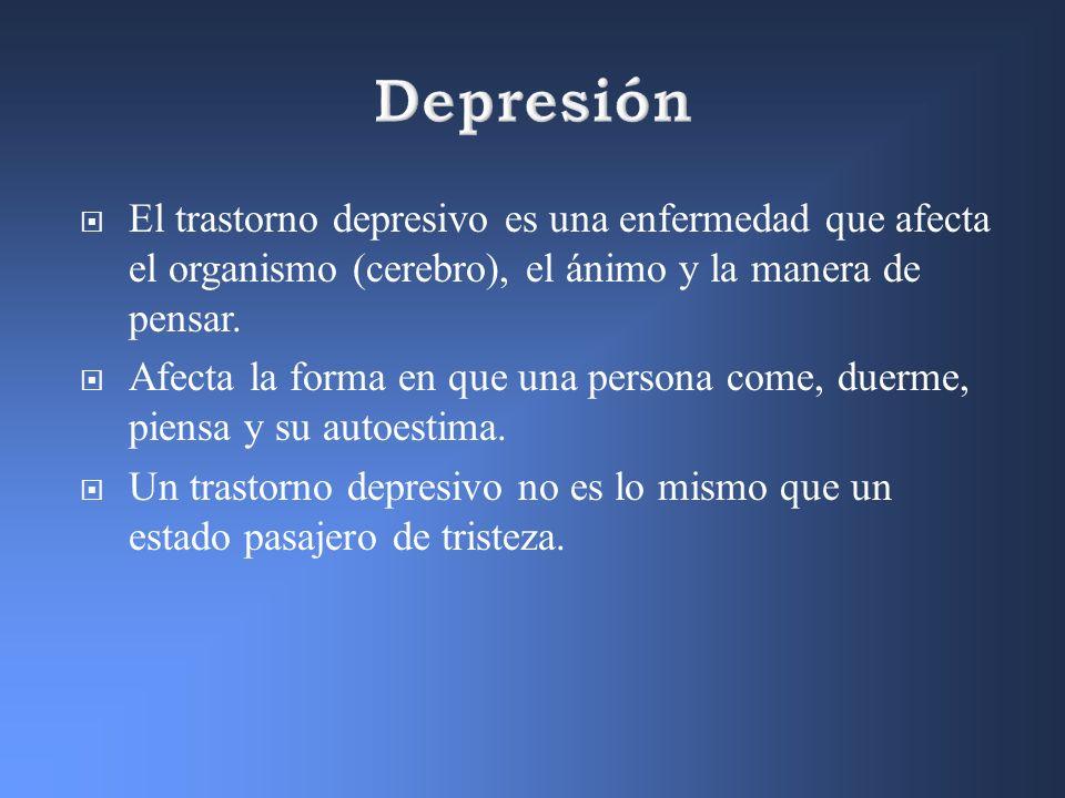 El trastorno depresivo es una enfermedad que afecta el organismo (cerebro), el ánimo y la manera de pensar. Afecta la forma en que una persona come, d