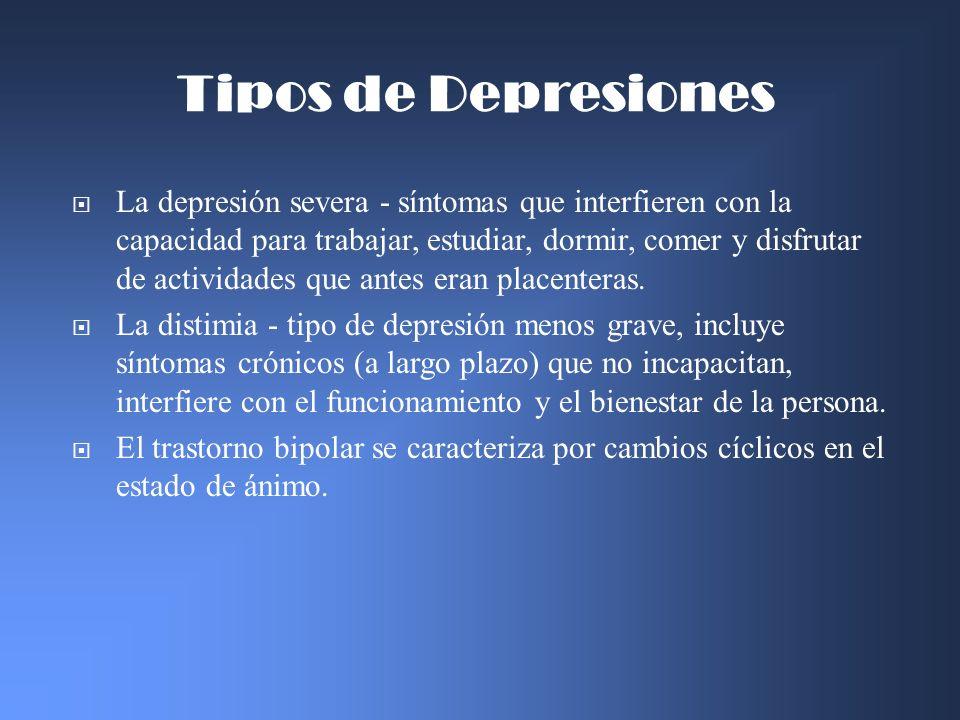 La depresión severa - síntomas que interfieren con la capacidad para trabajar, estudiar, dormir, comer y disfrutar de actividades que antes eran place