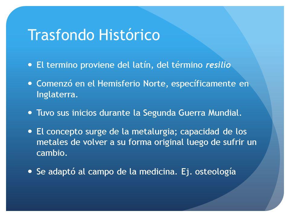 Trasfondo Histórico El termino proviene del latín, del término resilio Comenzó en el Hemisferio Norte, específicamente en Inglaterra. Tuvo sus inicios