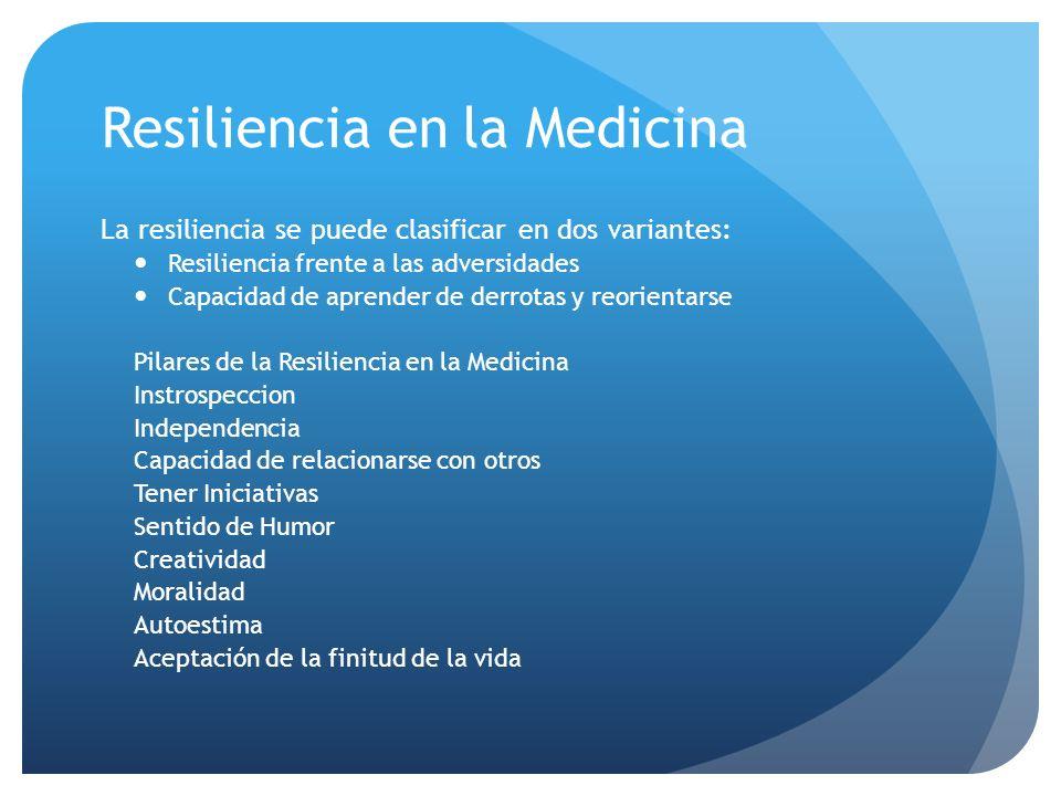 Resiliencia en la Medicina La resiliencia se puede clasificar en dos variantes: Resiliencia frente a las adversidades Capacidad de aprender de derrota