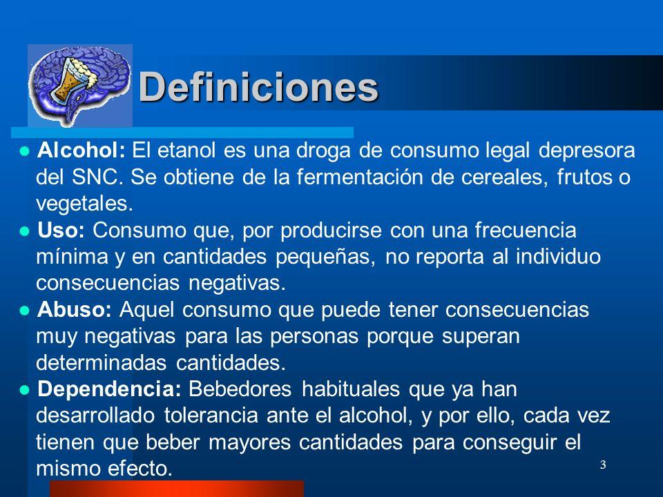 3 Definiciones Definiciones Alcohol: El etanol es una droga de consumo legal depresora del SNC. Se obtiene de la fermentación de cereales, frutos o ve