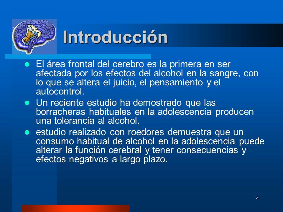 4 Introducción Introducción El área frontal del cerebro es la primera en ser afectada por los efectos del alcohol en la sangre, con lo que se altera e